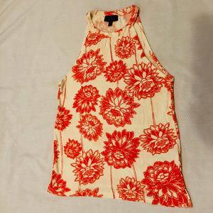 Topshop Ribbed Orange and White Floral Tank Top
